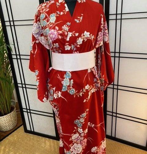 yukata femme pivoine rouge