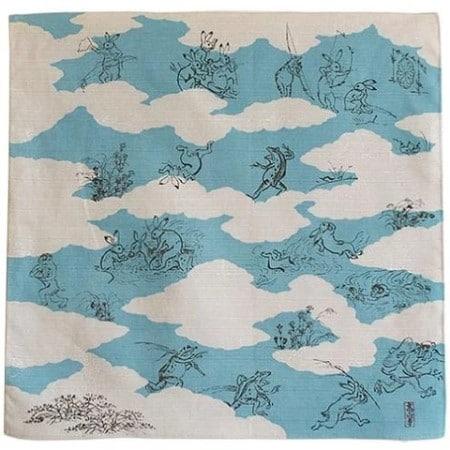tissu furoshiki bleu motif animaliers