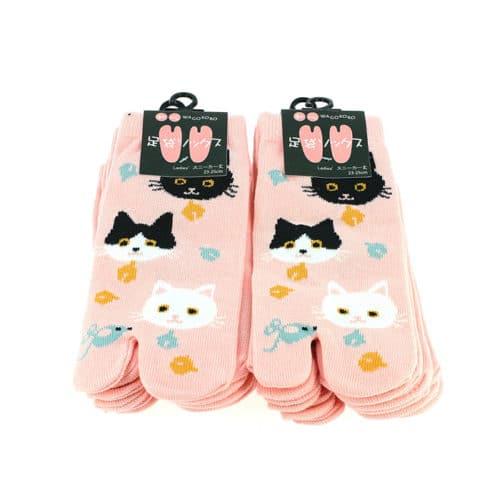 chausettes japonaises chat rose