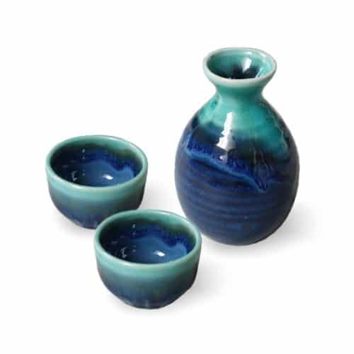 Service à saké bleu turquoise